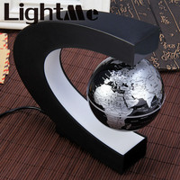 Creative C Shape Night Light Lamp Magnetic Levitation Globe World Map With Colorful LED Abajur Office