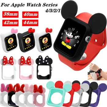 Soft Silicone Replacement Cove bumper For Apple Watch 4 44/40mm Cute Minnie Protective Case for iWatch 3/2/1 Accessories 38/42mm - discount item  29% OFF Watches Accessories