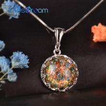 MosDream collier pendentif en opale, âge doré, Cabochon rond en argent, nostalgique Vintage, bijoux pour femmes, cadeau danniversaire pour femmes