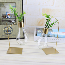 Gold color Metal Table Lamp Shape Hydroponics Plants Vase Creative Home Decor Ornaments Tabletop Plant Bonsai