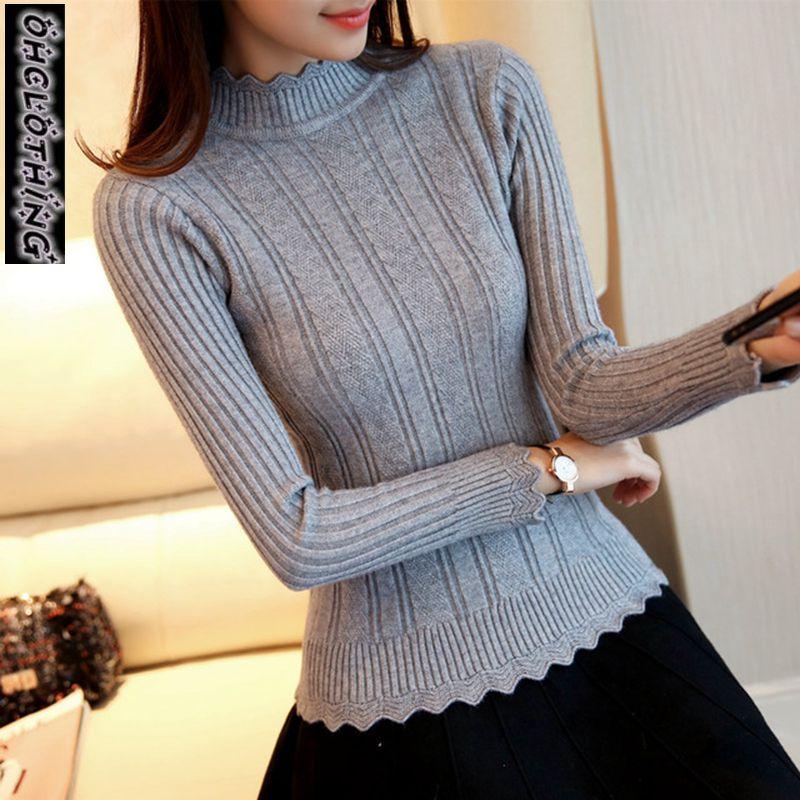 OHCLOTHIN 2019 New Fashion Half Korean Women Knitted Sweater Slim Petal Collar Shirt Elastic Bottoming Turtleneck Twist Pullover