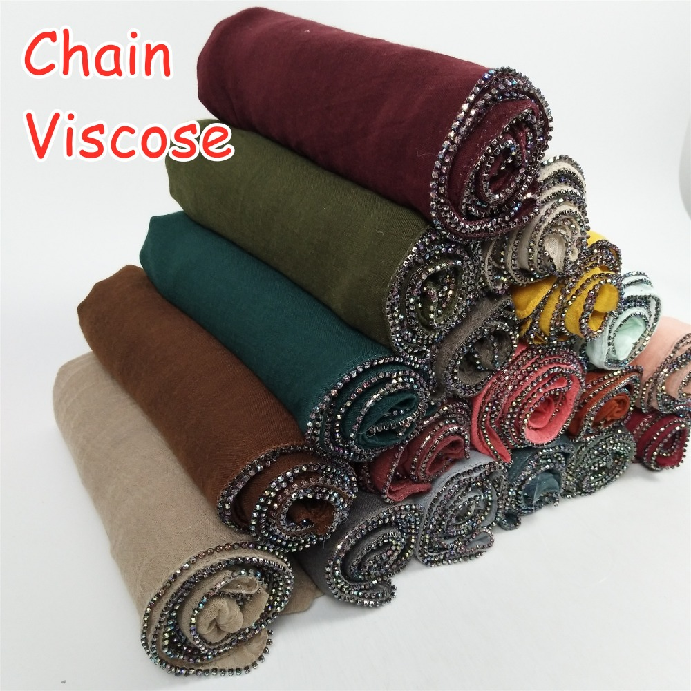 K12 Viscose Chain Hijab Long Shawl Women Soft Material Scarf Scarves Thick Lady Wrap 180*90cm  10pcs/lot Can Choose Col