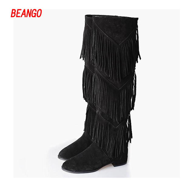 Women's Wedges Heel Round Toe Layered Tassels Black Suede Leather Knee High Boots