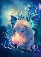 Animals 5D Diy Diamond Painting Cross Stitch Night At Wolf Cat Handmade Diamond Mosaic Kits Diamond