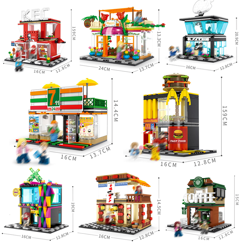 Mini City Street View Cafe Hamburger Food Shop Phone Store Sembo Building Blocks Bricks Education Toys Gifts LegoINGlysMini City Street View Cafe Hamburger Food Shop Phone Store Sembo Building Blocks Bricks Education Toys Gifts LegoINGlys