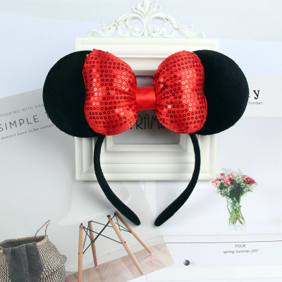 Mickey Mouse Headband Pink Ear Headband Bow Hair Accessories for Birthday Party Celebration Minnie Mouse Ears Hair Accessories Karachi