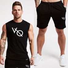 2018 New Men's Tow-piece gym Running Suit Sportswear Basketball Training Fitness Compression T-Shirts+Shorts 2 Pcs Set