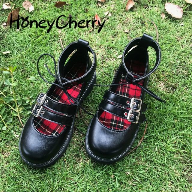 יפני חדש רך ילדה שני ללבוש קטן עור נעליים, עבה תחתון עגול ראש לוליטה תלמיד יפה בובת נעליים, נשים נעליים
