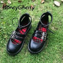 ญี่ปุ่นใหม่สาวนุ่มสองสวมรองเท้าหนังขนาดเล็ก,หนาด้านล่างหัว Lolita นักเรียนน่ารักรองเท้าตุ๊กตา,ผู้หญิงรองเท้า