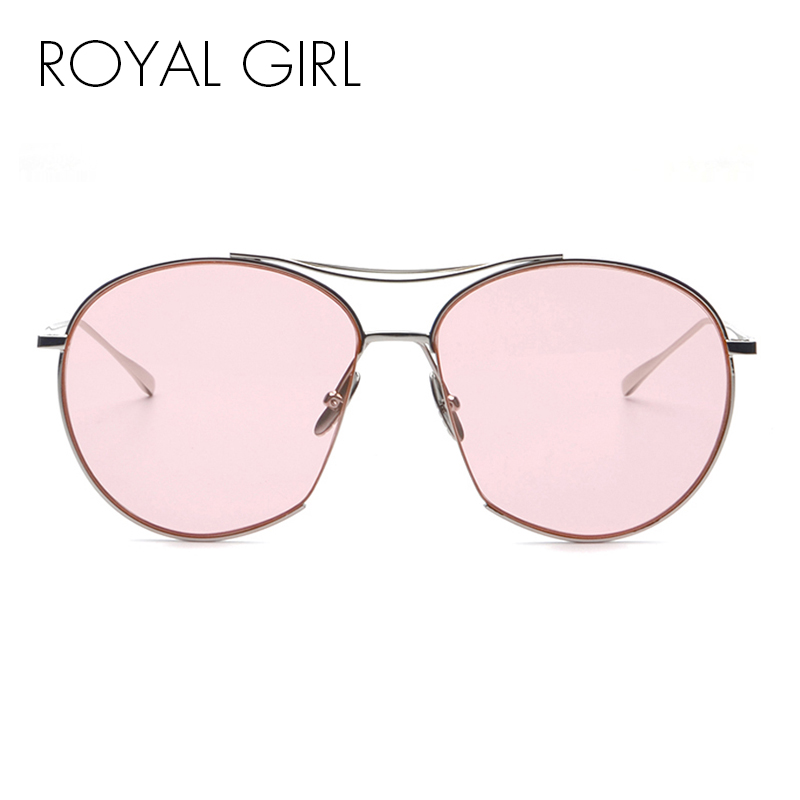 ROYAL GIRL New Fashion Women Sunglasses Brand Designer Oval Sun Glasses Vintage Twin Beam Metal Frame Glasses UV400 ss385