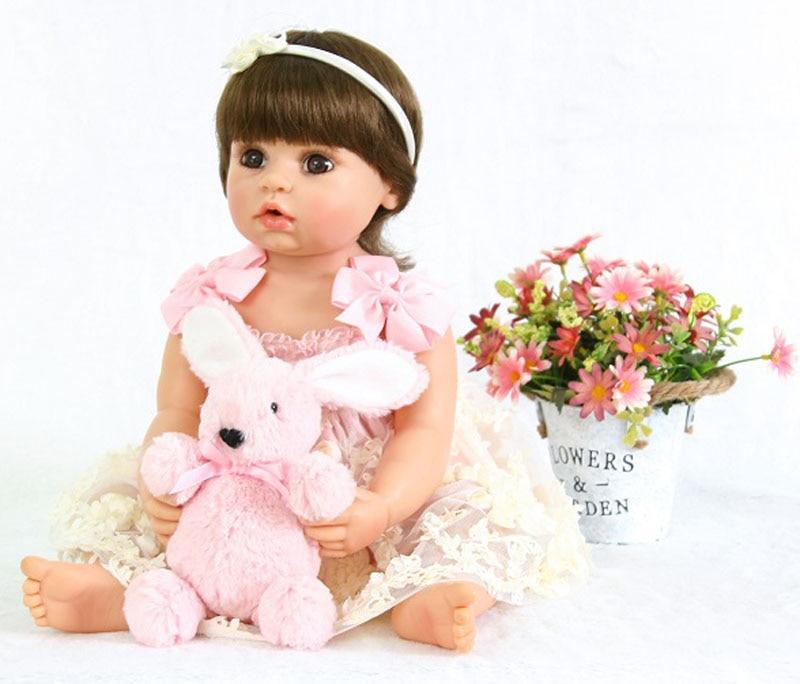 Full Silicone Reborn Baby Doll Toy For Girl Boneca 55cm Vinyl Princess Alive Bebe Newborn Babies Fashion Birthday Gift Bathe Toy