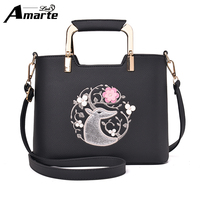 Amarte Casual Leather Women Messenger Bags High Quality Embossment Flower Embroidery Lady Shoulder Crossbody Bag Women Totes
