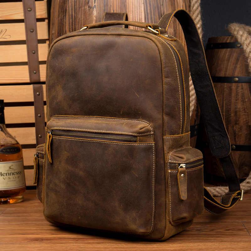 DWOY рюкзак из натуральной кожи для мужчин винтажный ноутбук Crazy Horse кожаные рюкзаки для школы сумка mochilas мужской рюкзак для путешествий сумка