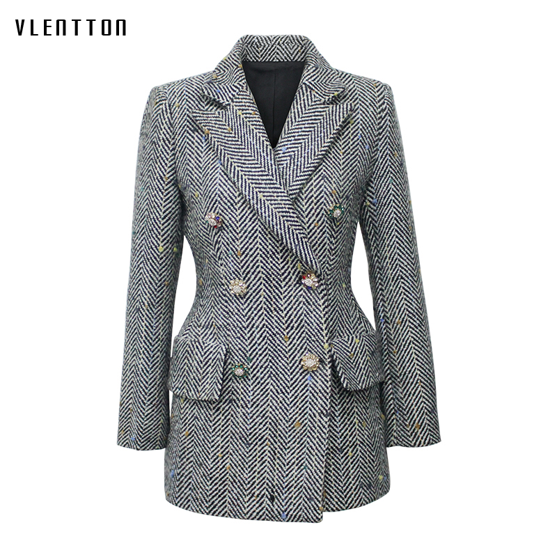 New Vintage Women s Wool Jacket Double Breasted Long Sleeve Striped Diamonds Outwear Tops Spring autumn