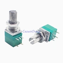 5pcs/lot RV097NS 20K single linked potentiometer B20K with a switch audio 5pin shaft 15mm power amplifier sealing potentiometer