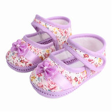Baby Girls flowers bow baby toddler shoes children footwear first walkers size 1 2 3(China)