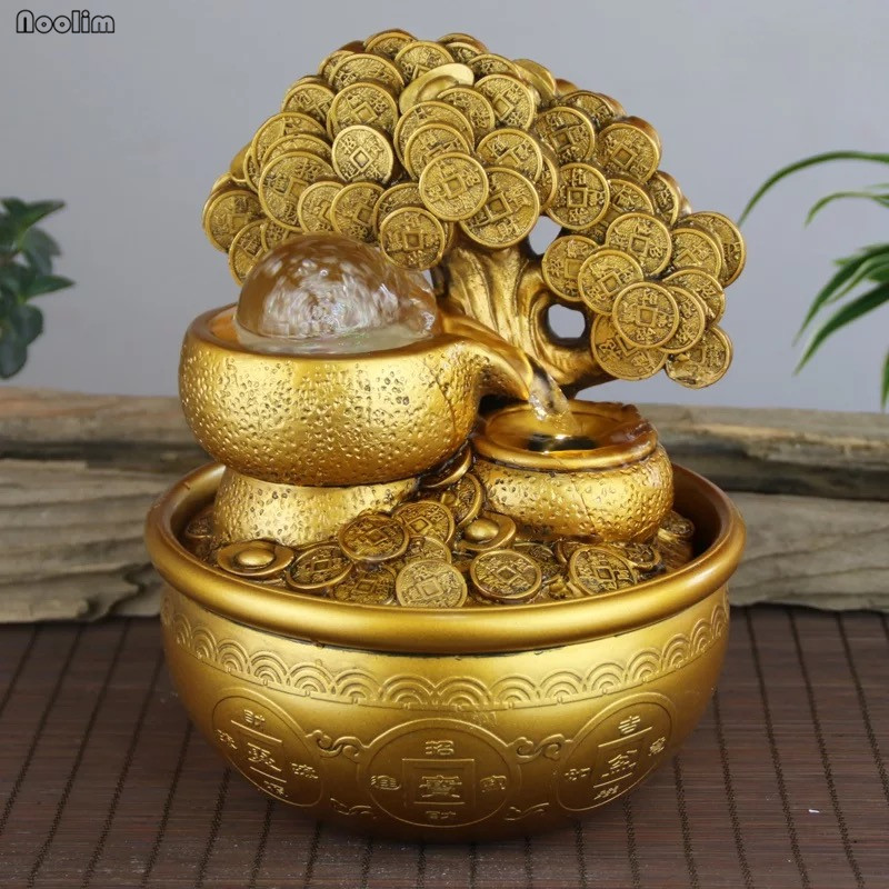 Gold Money Tree Water Fountain Ornaments Feng Shui Transfer Ball Waterscape Office Living Room Desktop Humidification Decoration