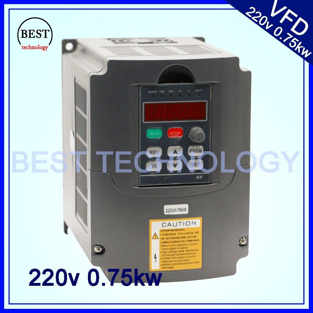 220 В 0,75 кВт VFD ЧПУ шпиндель контроль скорости двигателя 750 Вт Инвертор с переменной частотой 1HP или 3HP вход 3HP выход