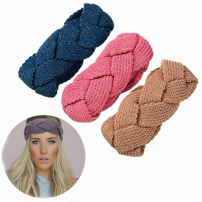 M MISM 2017 Girl Warm Woven Twist Headbands Autumn Winter Warm Elastic Hair Bands Solid Wool Turban Beauty Hair Accessories New metting joura vintage bohemian green mixed color flower satin cross ethnic fabric elastic turban headband hair accessories