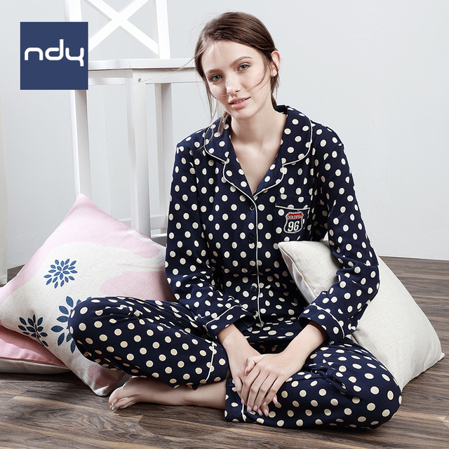 Ndy Korean style Leisure wear Springtime Pure cotton sleepwear Long sleeve pajamas  for women Autumn Wave point loveliness suit c35b3fc7c