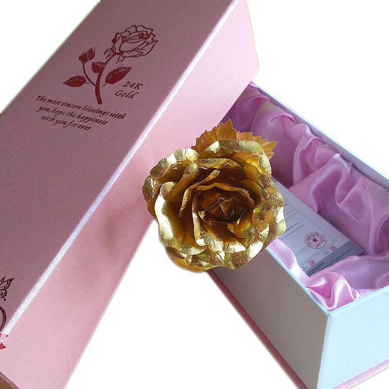 Романтические Розовые упаковка 24 К золотой фольги розового Творческий Валентина Свадебный подарок на Новый год искусственный цветок для д