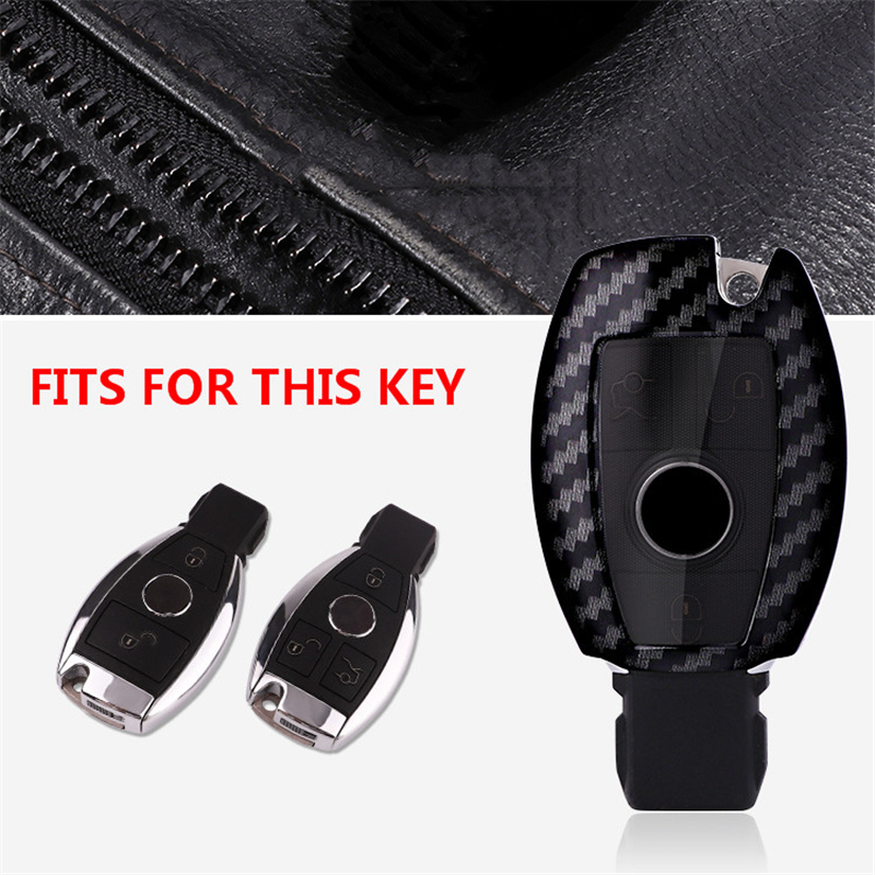 Image 2 - Carbon fiber +PC car key cover case for Mercedes benz CLS CLA GL R SLK AMG A B C S class Remote holder accessories keychain-in Key Case for Car from Automobiles & Motorcycles