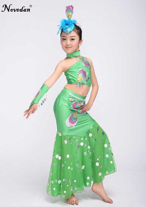 7c7c23a8f ... Kids Belly Bollywood Dance Costumes Children Indian Girls Peacock Dai  Mermaid Tail Costume Girl Dance Wear ...