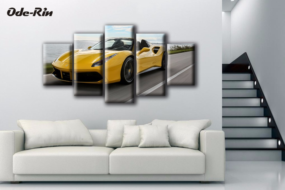 Ode-Rin 5 piece canvas art Customized decoration wall pictures for living room no frame wall art Yellow sports car wallpaper