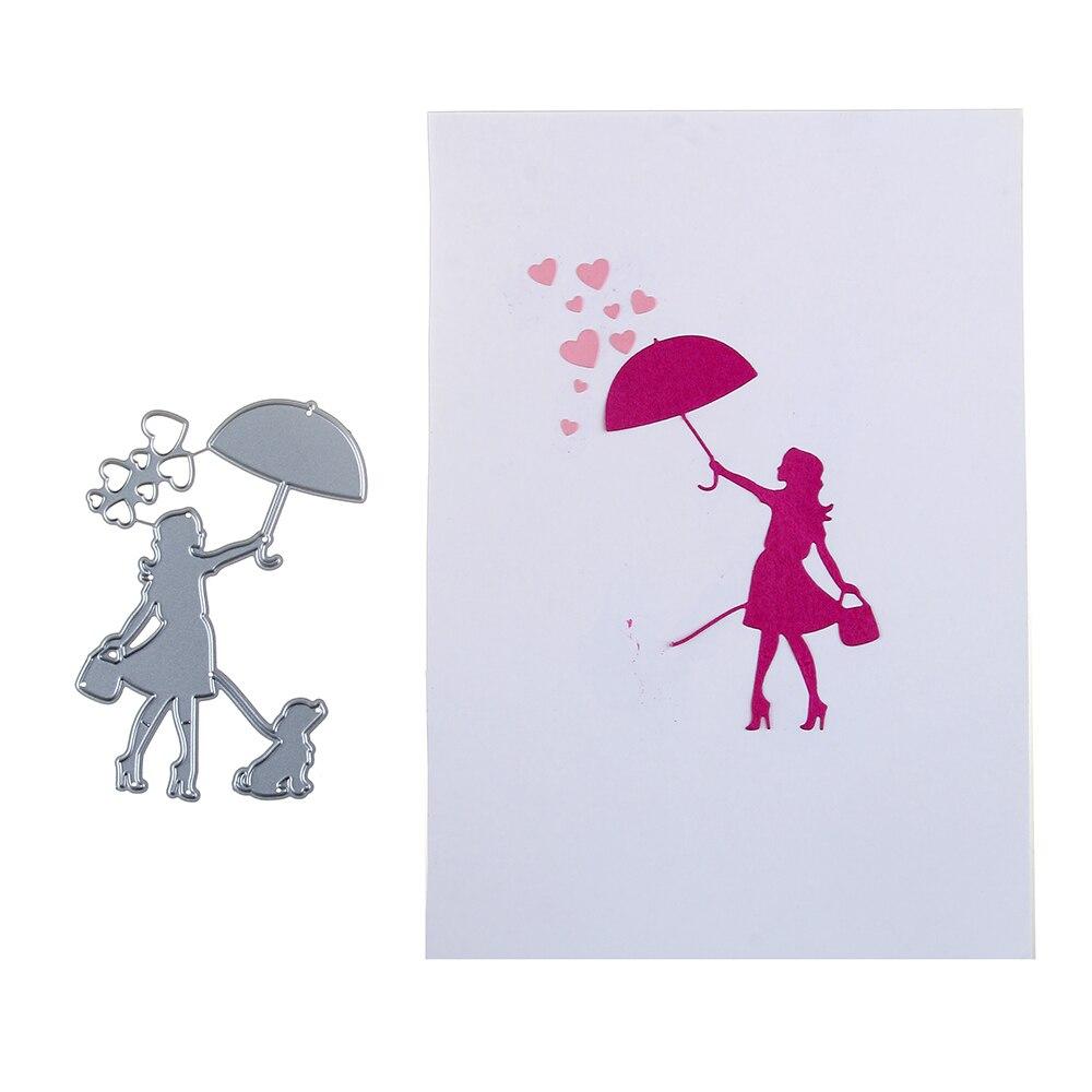 75*100mm scrapbooking DIY frame love Shape Metal steel cutting die girl Umbrella to dog Shape Book photo album art card Dies Cut