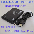 13.56MHz ISO 15693 RFID Desktop Reader/writer ISO144443A/B Free Shipping No Driver