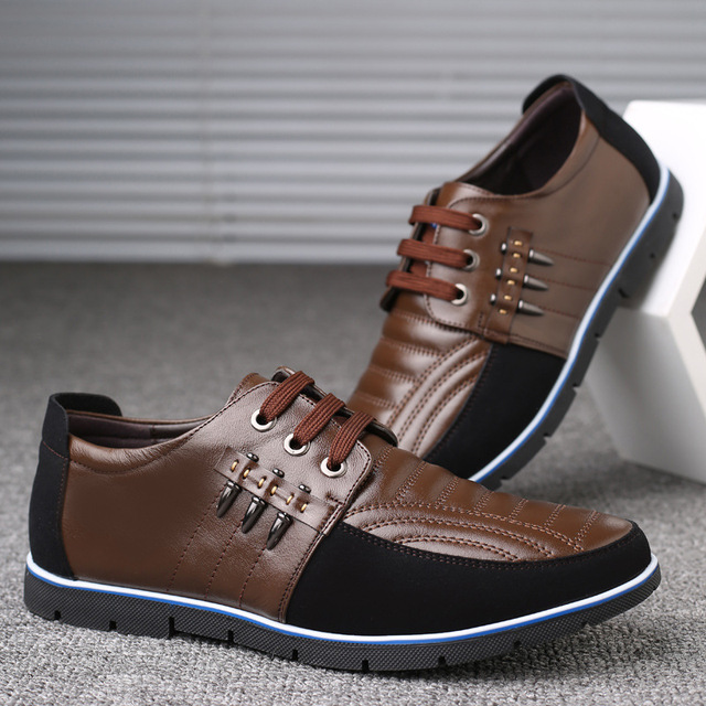 QWEDF Men genuine leather shoes High Quality Elastic band Fashion design Solid Tenacity Comfortable Men's shoes big sizes ZY-251