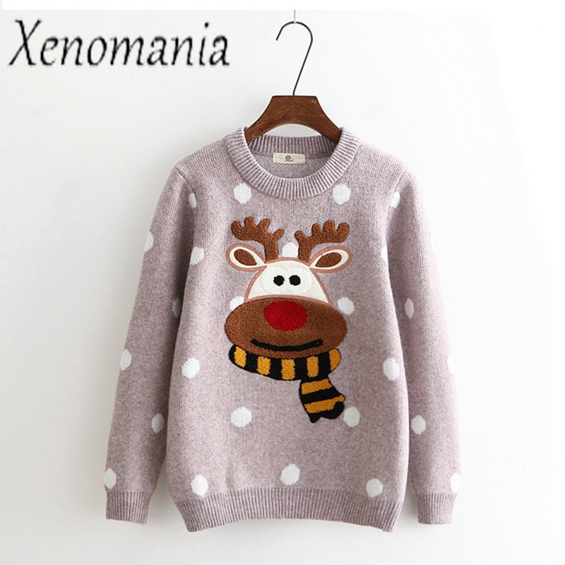 Sweater With Deer Ugly Christmas Sweater Women Sweaters And Pullovers 2017 Korean Winter Warm Jumper Pull Femme Pullover Knitted