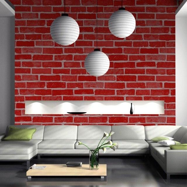 Vintage En Relief Papier Peint Brique Mur Rouleau Moderne Gris Blanc