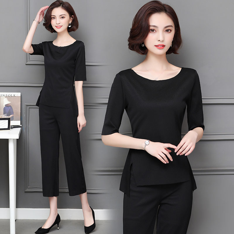 M-5xl Summer Two Piece Sets Women Plus Size Half Sleeve Tops And Pants Suits Pink Black Casual Office Elegant Women's Sets 2019 42