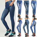 Mulheres Senhora Sexy Skinny Jeggings Magro Inverno Quente Leggings Moda Jeans Estilo