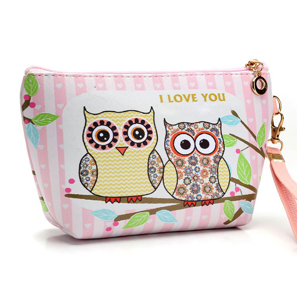 Woman Bag Portable Owl Cosmetic Case Pouch Zip Toiletry Organizer Travel Makeup Clutch Make Up Tasje Neceser Mujer Peque O