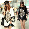 Fashion Women's Fringed Loose Short Sleeve Long Batwing Shirt Casual Plus Size T-shirt Tops S-XXL White/Black