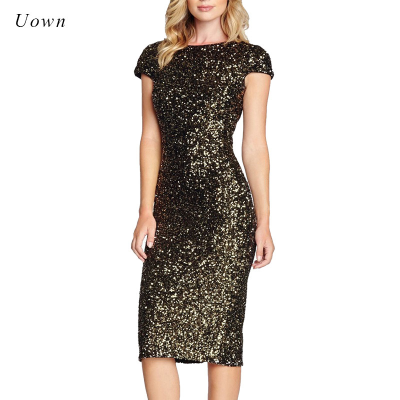 Sparkly Red Gold Sequin Party Dress Women Cap Sleeve Sexy