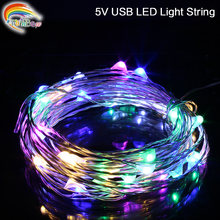 String led lights 10 M IP68 100led 5 V USB powered outdoor Warm wit/RGB koperdraad kerst festival bruiloft decoratie(China)
