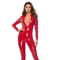 Porn Sex Underwear Sexy Hot PU Leather Slim Bodysuit Erotic Lingerie Pole Dance Club Costumes PU Zipper Linked Leather Garment