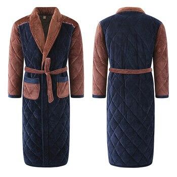 Winter Männer Drei Schichten Stepp Bademantel Dick Flanell Robe Nachtwäsche Plus Größe XXXL Kimono Nähte Bademäntel Männlich Warme Lounge