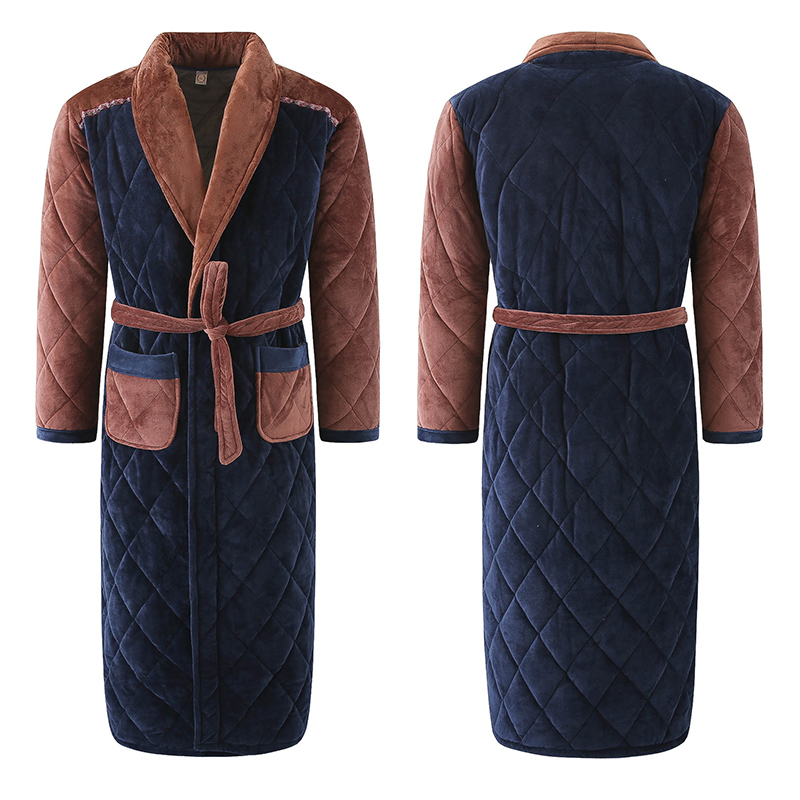 Winter Men Three Layers Quilted Bathrobe Thick Flannel Robe Sleepwear Plus Size XXXL Kimono Stitching Bathrobes Male Warm Lounge