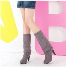 Women Stretch faux suede thigh high boots Slim Sexy fashion over high-heeled boots Women's Shoes Black Grey Winered