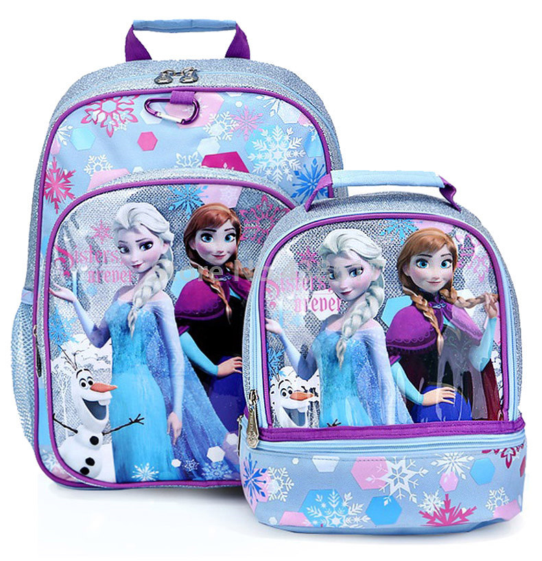 New Fashion Blue Elsa Anna Princess Girls School Bag With Lunch Set For Children Elementary Primary