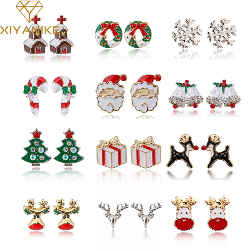 XIYANIKE Boutique New Fashion Women Elk Santa Claus lovely Tree Bell Christmas Jewelry Christmas Earring For Women Gifts E1372