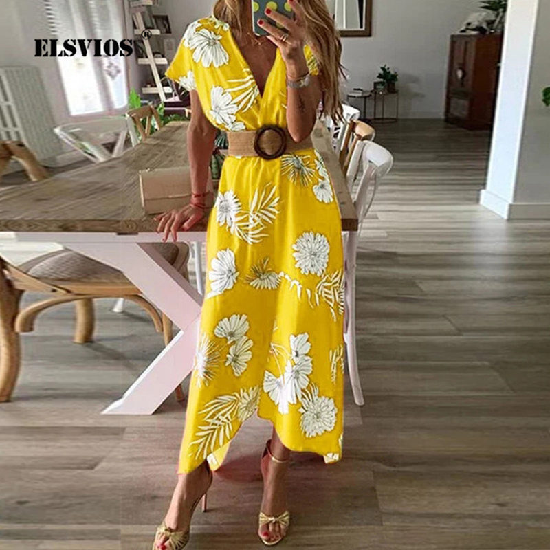 ELSVIOS Summer <font><b>Floral</b></font> <font><b>Print</b></font> <font><b>V</b></font>-neck <font><b>Dress</b></font> Women 2019 Vintage <font><b>Short</b></font> Sleeve <font><b>Boho</b></font> Long <font><b>Dresses</b></font> <font><b>Sexy</b></font> Buttons Sashes <font><b>Beach</b></font> Party <font><b>Dress</b></font> image