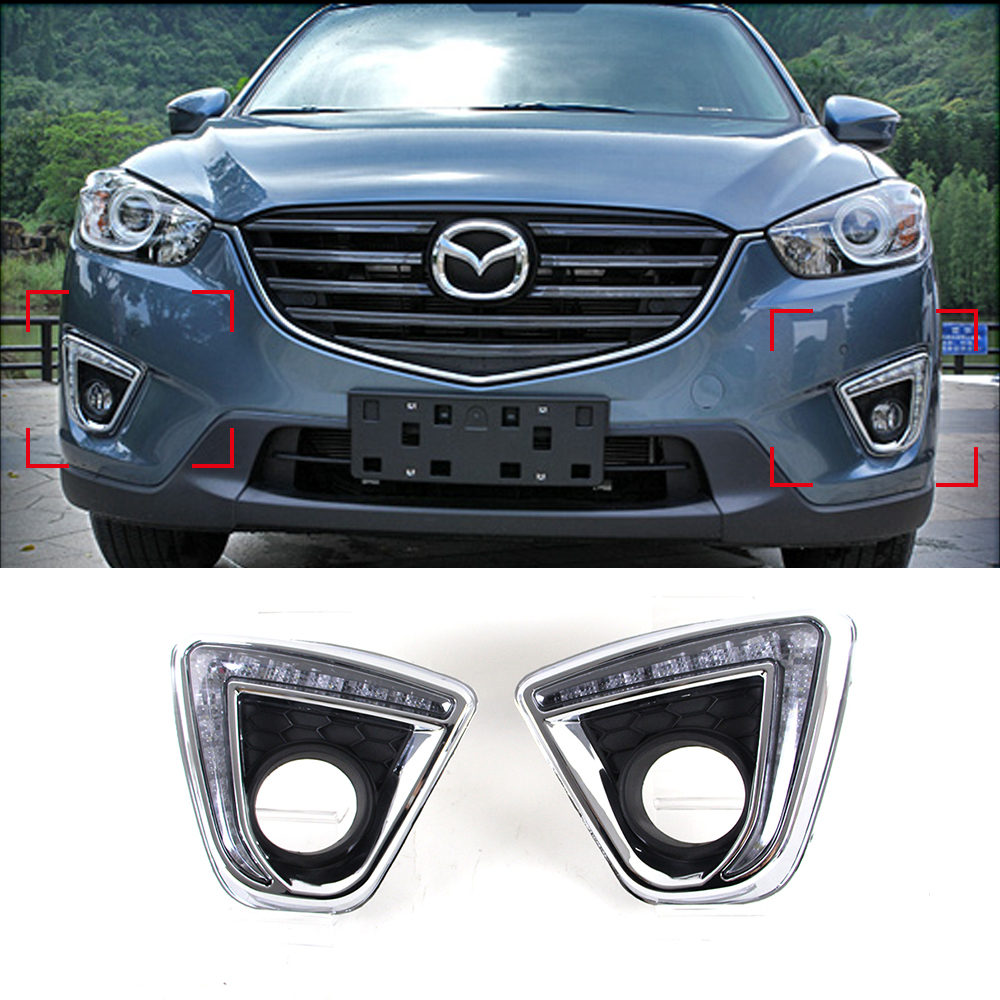 Car LED DRL Waterproof ABS Super bright 12V LED Daytime Running Light for MAZDA CX-5 2012 2013 2014 2015 2016 osmrk led daytime running light drl for mazda cx 5 2012 2013 2014 2015 phllips chips top quality super bright dimmer control