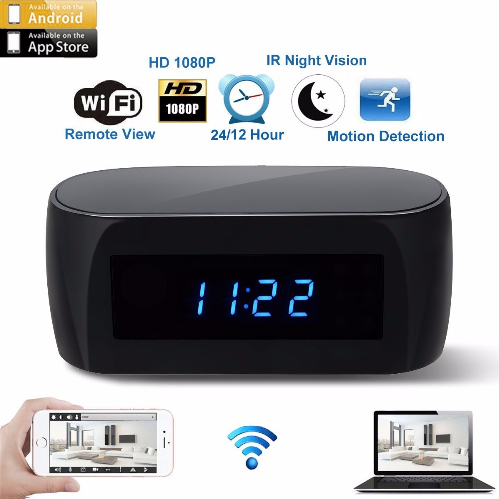 WiFi Camera Alarm Clock with Motion Detection IR Night Vision HD 1080P mini Home Security Camera Real-time Video secret hidden camera ngụy trang sạc