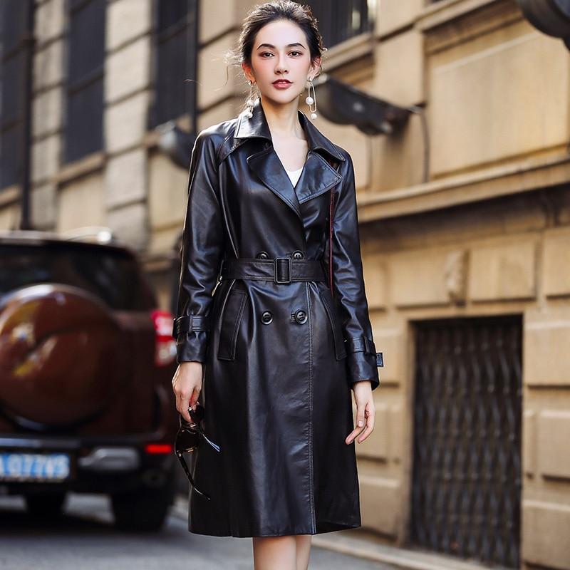 Veste Longue En Naturel Tranchée Véritable Cuir Femelle Manteau Femmes Vestes Ceinture Automne Noir Peau Mouton Z1141 2019 De Avec R5xAqgWwW