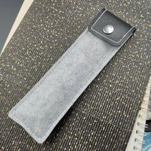 1Pc Gray Felt Scrub and PU Leather Material Fountain Pen Pouch Bag